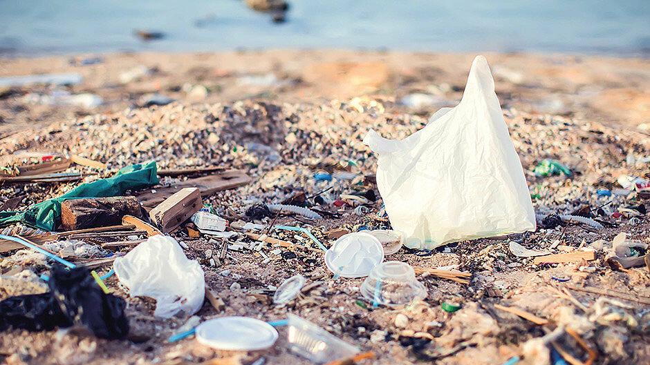 Garbage littered beach