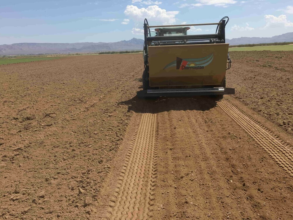 Quote with pulled beach cleaner Cherrington on seedbed in background